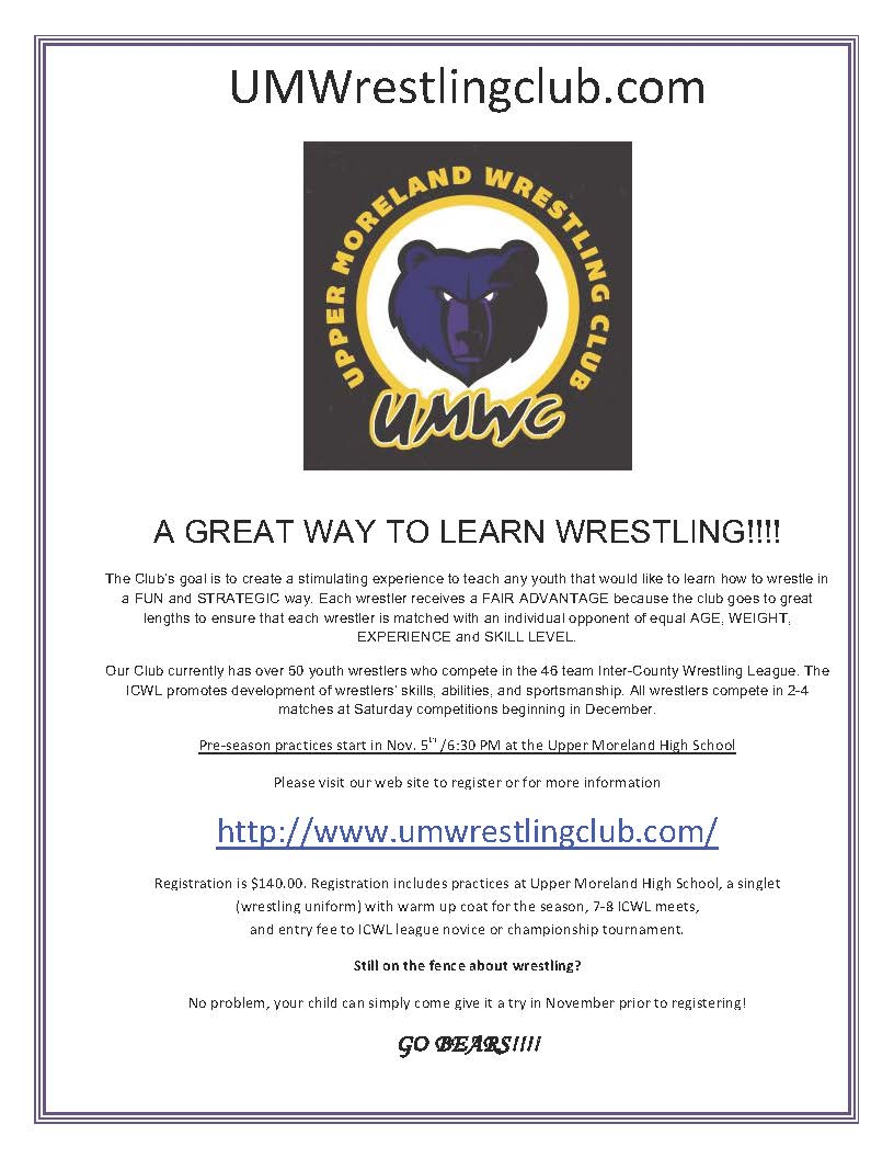 2018 Wrestling Registration Flyer