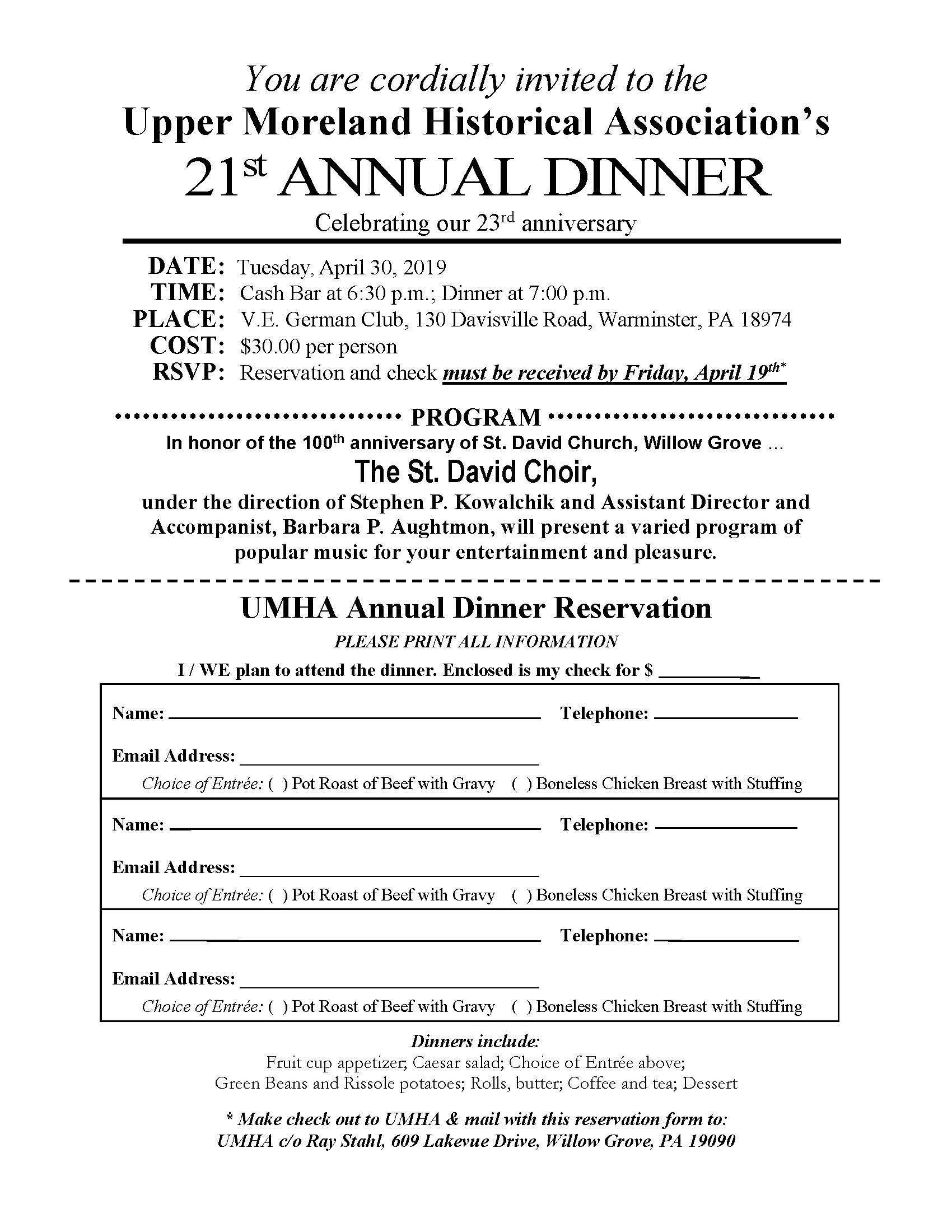 20190 UMHA Dinner Invitation, VE German Club